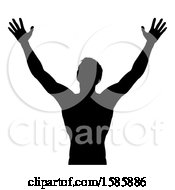 Clipart Of A Silhouetted Man Holding His Arms Up To The Sky Royalty Free Vector Illustration