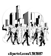 Clipart Of A Silhouetted Busy City With Business Men And Women Royalty Free Vector Illustration