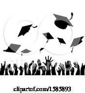 Clipart Of A Silhouetted Crowd Of Graduate Hands Throwing Their Graduation Caps Royalty Free Vector Illustration