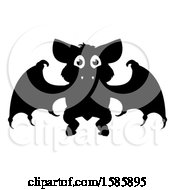 Clipart Of A Silhouetted Vampire Bat Royalty Free Vector Illustration by AtStockIllustration
