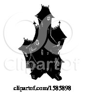Clipart Of A Silhouetted Haunted House Royalty Free Vector Illustration