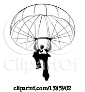 Clipart Of A Silhouetted Black And White Business Man Parachuting Royalty Free Vector Illustration