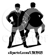 Clipart Of A Silhouetted Businessman Standing With Folded Arms And A Super Hero Shadow Royalty Free Vector Illustration