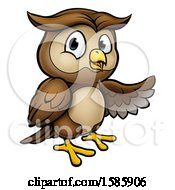 Cartoon Owl Mascot Presenting