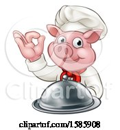 Chef Pig Holding A Cloche And Gesturing Okay