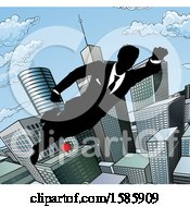 Clipart Of A Silhouetted Super Business Man Flying Through A City Royalty Free Vector Illustration