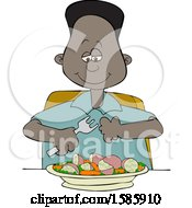 Cartoon Black Boy Eating A Veggie Meal Of Carrots Peas And Potatoes