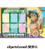 Clipart Of A Cartoon Dog Student By A School Time Table Royalty Free Vector Illustration
