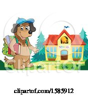 Clipart Of A Cartoon Dog Student By A School Royalty Free Vector Illustration