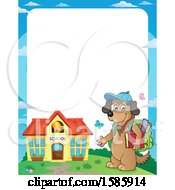 Clipart Of A Border Of A Cartoon Dog Student Royalty Free Vector Illustration