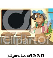 Clipart Of A Cartoon Dog Student By A Black Board Royalty Free Vector Illustration