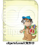 Ruled Paper Border Of A Cartoon Dog Student