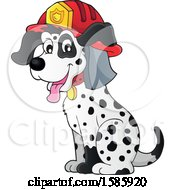Clipart Of A Cartoon Fire Fighter Dalmatian Dog Royalty Free Vector Illustration by visekart