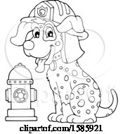 Clipart Of A Cartoon Lineart Fire Fighter Dalmatian Dog Royalty Free Vector Illustration