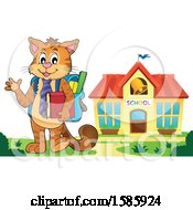 Clipart Of A Cartoon Cat Student Royalty Free Vector Illustration