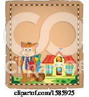 Clipart Of A Parchment Border Of A Cartoon Cat Student Royalty Free Vector Illustration