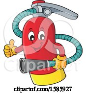 Clipart Of A Cartoon Fire Extinguisher Character Royalty Free Vector Illustration