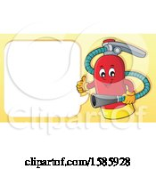 Clipart Of A Cartoon Fire Extinguisher Character Talking Royalty Free Vector Illustration by visekart