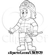 Cartoon Lineart Fire Man Holding An Axe