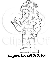 Cartoon Lineart Fire Woman Holding Up A Finger