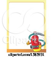 Clipart Of A Border Of A Cartoon Fire Extinguisher Character Royalty Free Vector Illustration by visekart