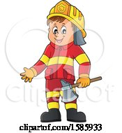 Clipart Of A Cartoon Fire Man Holding An Axe Royalty Free Vector Illustration
