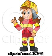 Clipart Of A Cartoon Fire Woman Holding Up A Finger Royalty Free Vector Illustration by visekart
