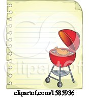 Clipart Of A Ruled Paper Border With A Red Bbq Grill Royalty Free Vector Illustration