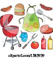 Clipart Of A Bbq Grill Food And Accessories Royalty Free Vector Illustration