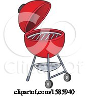 Clipart Of A Red Bbq Grill Royalty Free Vector Illustration