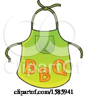 Clipart Of A Green Apron With Flaming Bbq Letters Royalty Free Vector Illustration