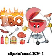 Clipart Of A Red Bbq Grill Character And Food Royalty Free Vector Illustration