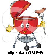 Clipart Of A Red Bbq Grill Character Holding A Sausage Royalty Free Vector Illustration