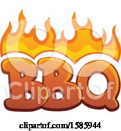 Clipart Of A Flaming Bbq Design Royalty Free Vector Illustration