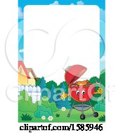 Clipart Of A Border With A Red Bbq Grill Royalty Free Vector Illustration