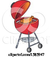Clipart Of A Sausage Cooking On A Red Bbq Grill Royalty Free Vector Illustration
