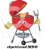 Clipart Of A Red Bbq Grill Character Cooking A Sausage Royalty Free Vector Illustration