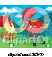 Clipart Of A Yard With A Red Bbq Grill Royalty Free Vector Illustration