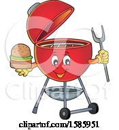 Clipart Of A Red Bbq Grill Character Holding A Burger Royalty Free Vector Illustration