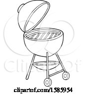 Clipart Of A Lineart Bbq Grill Royalty Free Vector Illustration