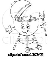 Clipart Of A Lineart Bbq Grill Character Cooking A Sausage Royalty Free Vector Illustration