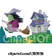 Clipart Of A Witch Flying Near A Haunted House Royalty Free Vector Illustration