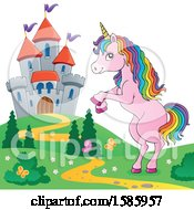 Clipart Of A Unicorn Near A Castle Royalty Free Vector Illustration