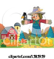 Clipart Of A Bird On A Scarecrow Royalty Free Vector Illustration