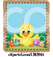 Clipart Of A Parchment Border Of An Easter Chick Royalty Free Vector Illustration