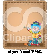 Poster, Art Print Of Parchment Border Of A Painting Clown