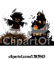 Clipart Of A Silhouetted Bird On A Scarecrow Over Halloween Pumpkins Near A Haunted House Royalty Free Vector Illustration