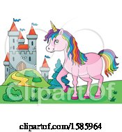 Clipart Of A Unicorn Near A Castle Royalty Free Vector Illustration by visekart