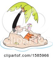 Poster, Art Print Of Cartoon Relaxed White Man Relaxing With A Cocktail On A Private Island