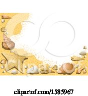 Clipart Of A Summer Time Sandy Beach And Shells Background Royalty Free Vector Illustration by dero